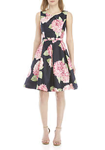 Jessica Howard Sleeveless Printed Shantung Fit and Flare Belted Dress
