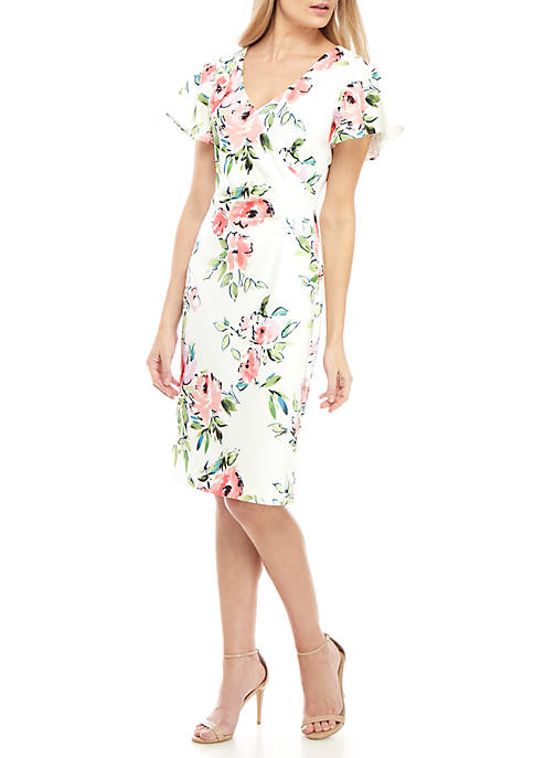 Short Flutter Sleeve Side Ruched Print Dress