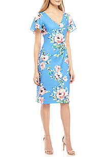 d243f8196b9 ... Jessica Howard Short Flutter Sleeve Side Ruched Print Dress