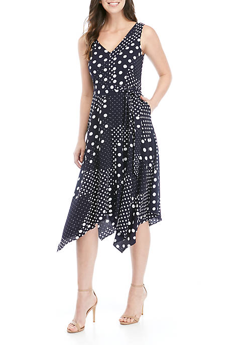 Jessica Howard Sleeveless Multi Dot Asymmetrical Hem Dress