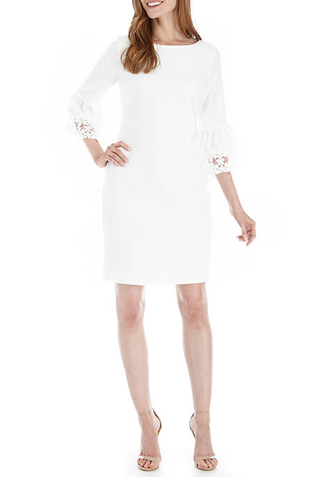 Jessica Howard Shift Dress with Lace Trimmed Sleeves