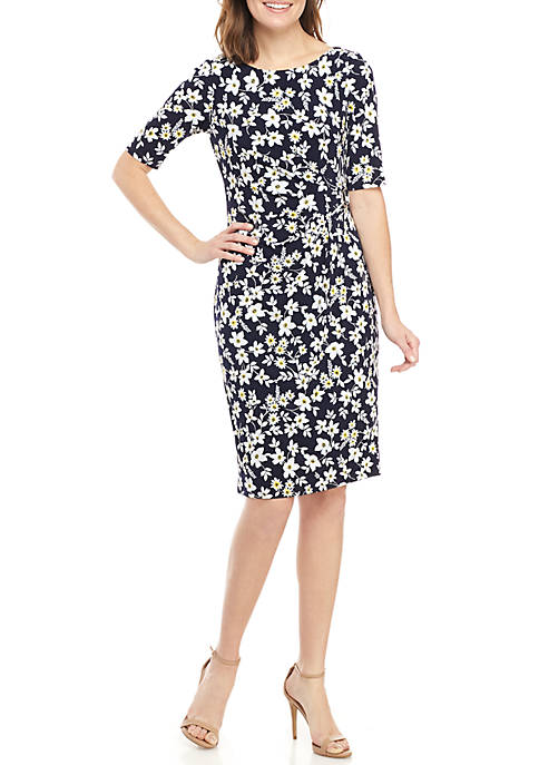 Jessica Howard Floral Side Ruche Dress