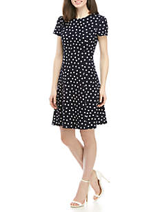 Jessica Howard Short Sleeve Textured Dot Fit And Flare Dress