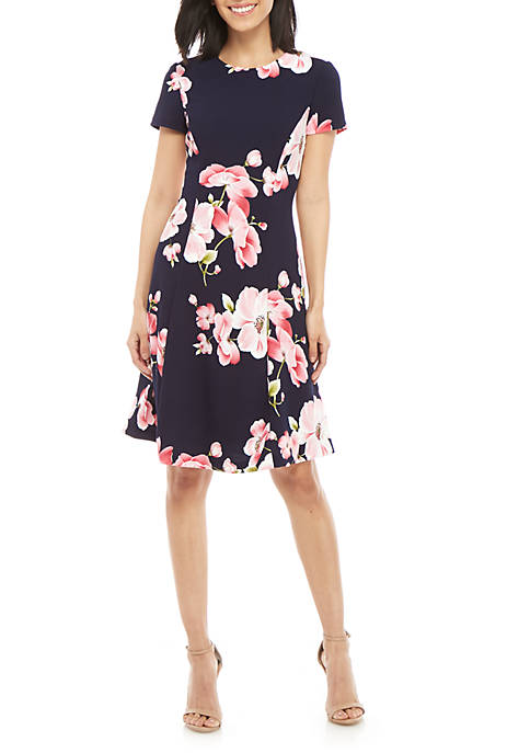 Jessica Howard Textured Floral Fit and Flare Dress