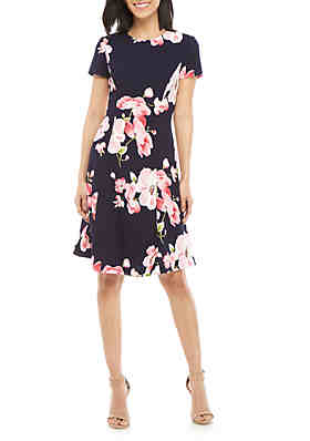 742eaf6728a Jessica Howard Textured Floral Fit and Flare Dress ...