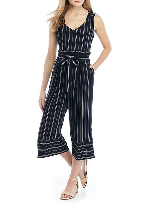 Jessica Howard Sleeveless Stripe Jumpsuit