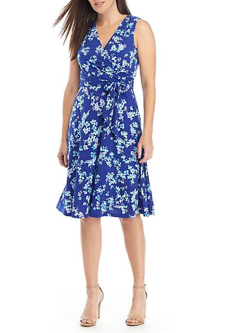 Jessica Howard Sleeveless Faux Wrap Belted Dress