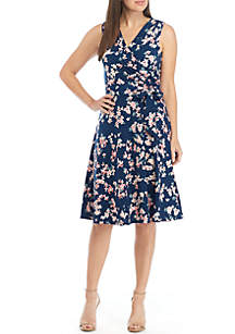 Jessica Howard Sleeveless Faux Wrap Belted Dress