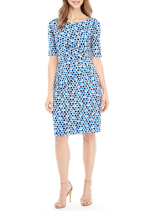 Multi Dot Side Ruched Dress