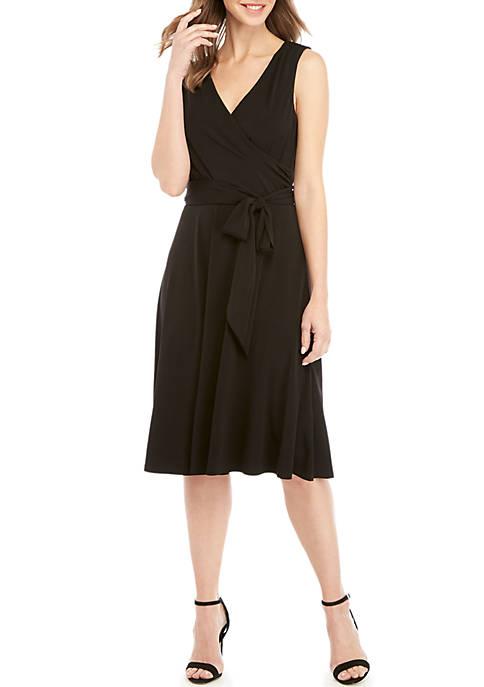 Sleeveless Faux Wrap with Belt Dress