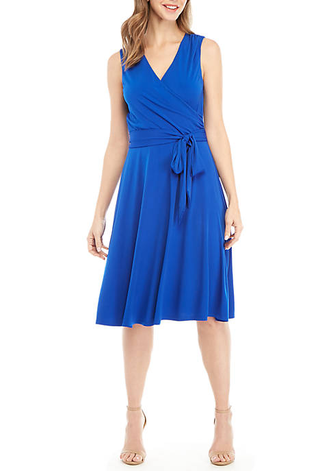 Sleeveless Faux Wrap with Belt Dress