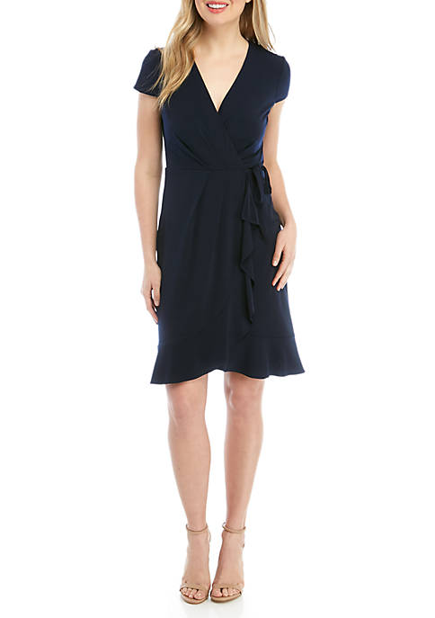 Jessica Howard Short Sleeve Faux Wrap Dress