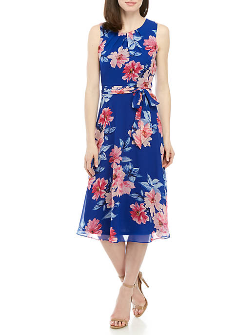 Jessica Howard Sleeveless Chiffon Dress With Belt