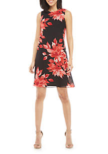 Jessica Howard Sleeveless Floral Chiffon A Line Dress