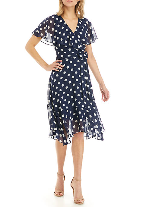 Jessica Howard Short Sleeve Chiffon Faux Wrap Dress