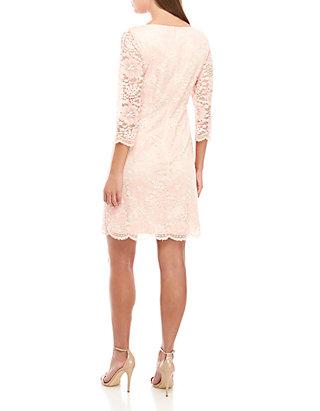Jessica Howard Plus Size 3/4 Sleeve Two Tone Lace Dress
