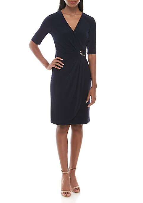 Jessica Howard Womens Elbow Sleeve Side Ruch Dress