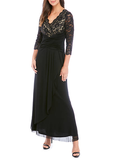Jessica Howard 3/4 Sleeve Lace Scallop Long Gown