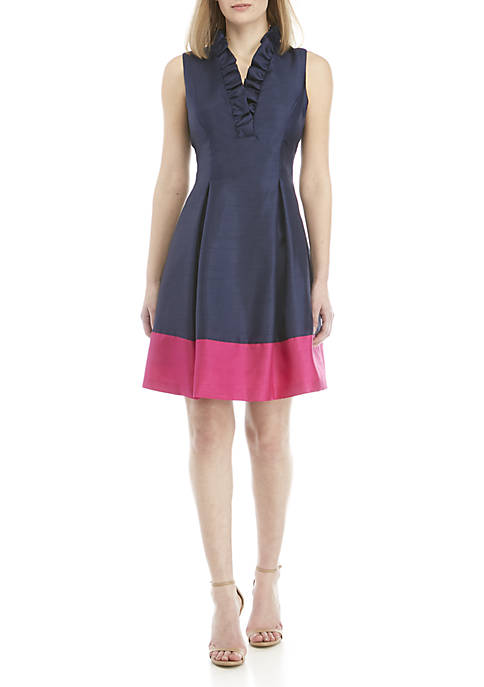 Jessica Howard Ruffle Neck Fit and Flare Dress