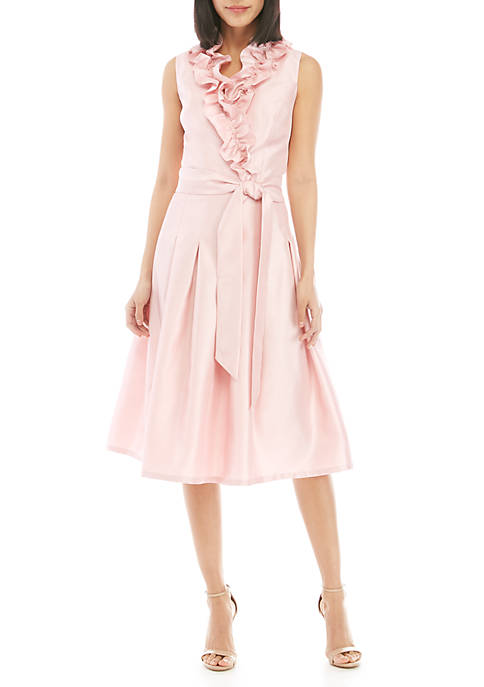 Jessica Howard Sleeveless Shantung Fit and Flare Ruffle