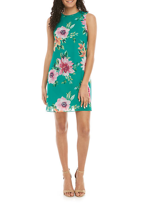 Jessica Howard Sleeveless Floral Chiffon A Line Dress