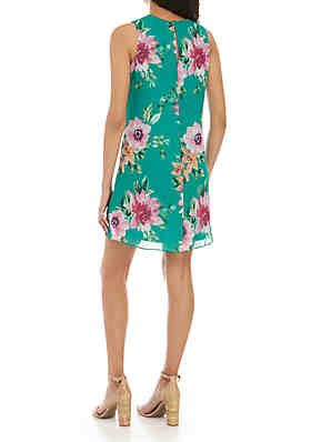 27d2698b5a7f ... Jessica Howard Sleeveless Floral Chiffon A Line Dress. Green