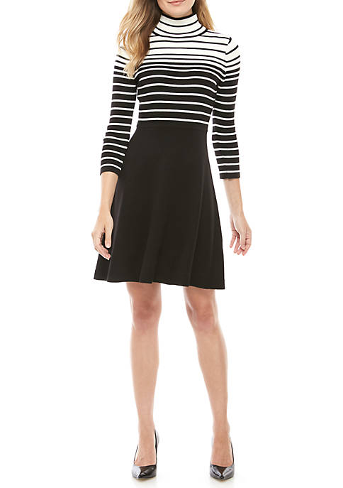Jessica Howard Variegated Stripe Mock Neck Sweater Dress