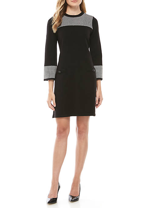 Jessica Howard Herringbone Trim Sweater Dress