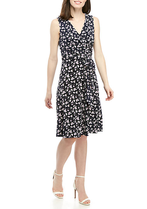 Jessica Howard Sleeveless Faux Wrap Dress With Belt