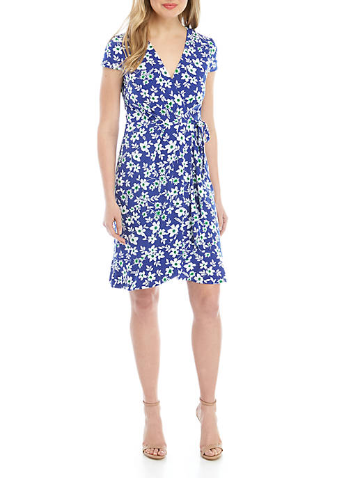 Jessica Howard Short Sleeve Floral Faux Wrap Dress