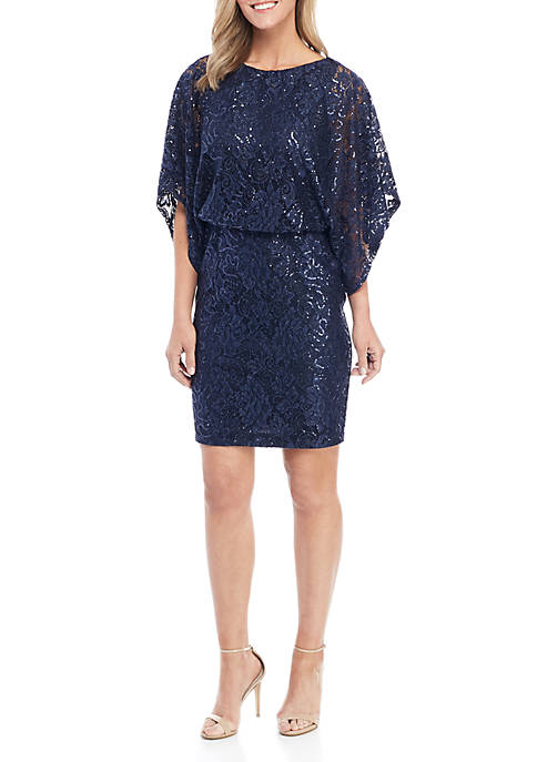 Jessica Howard Short Sleeve Allover Lace Dress