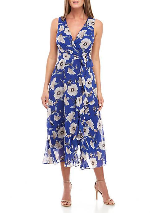 Jessica Howard Sleeveless Floral Chiffon Wrap Dress