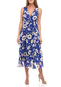 Jessica Howard Sleeveless Floral Chiffon Wrap Dress
