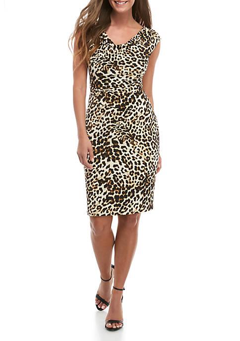 Jessica Howard Sleeveless Drape Neck Animal Print Dress