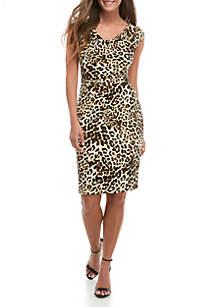 8b05f4a7da7a ... Jessica Howard Sleeveless Drape Neck Animal Print Dress