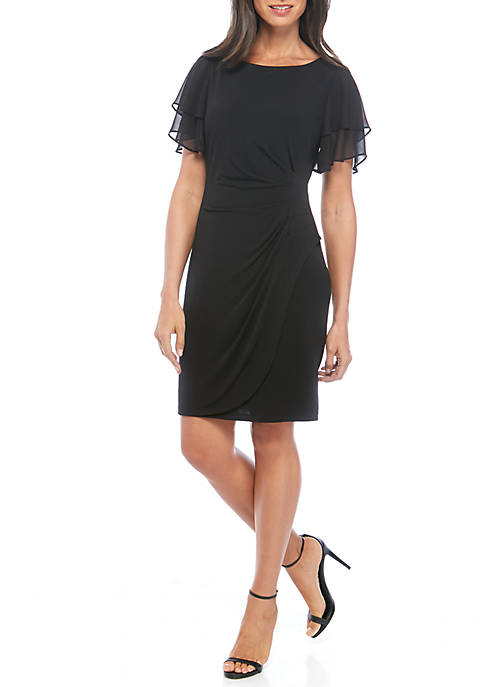 Jessica Howard Flutter Sleeve Chiffon Side Ruched Dress