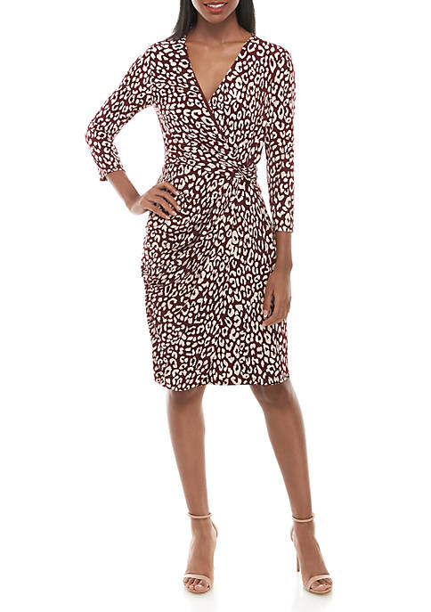Jessica Howard 3/4 Sleeve Side Twist Animal Print