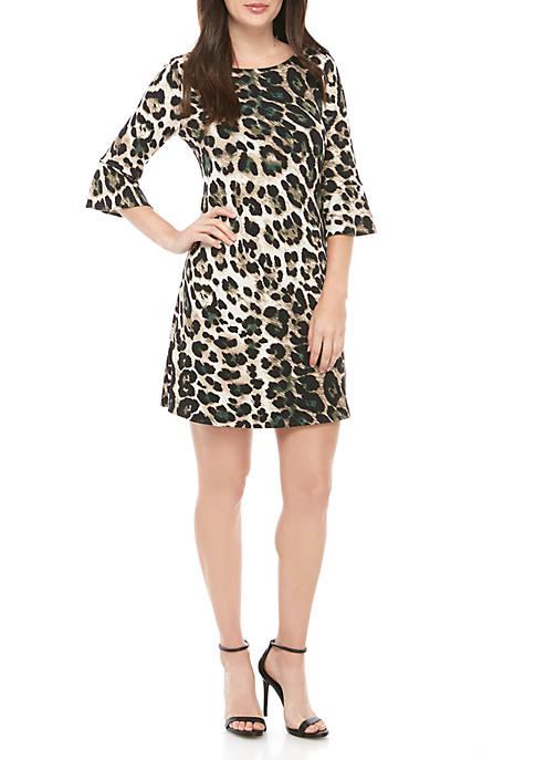 Jessica Howard Bell Sleeve Animal Print Dress