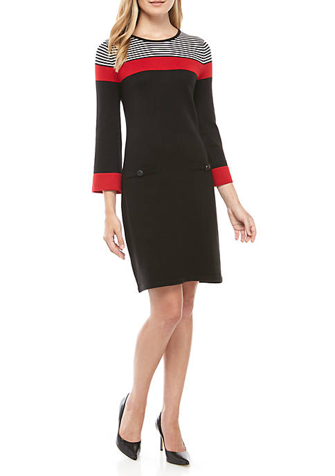Womens Shoulder Stripe Sweater Dress