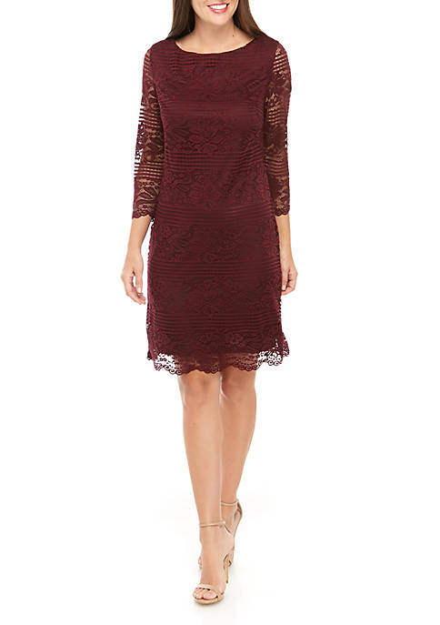 Jessica Howard Long Sleeve Lace Shift Dress