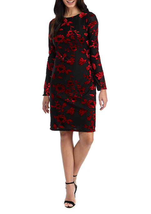 Jessica Howard Womens Long Sleeve Floral Flocked Sheath