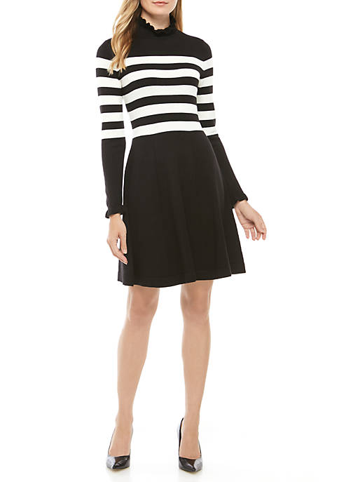 Jessica Howard Ruffle Neck Wide Stripe Sweater Dress