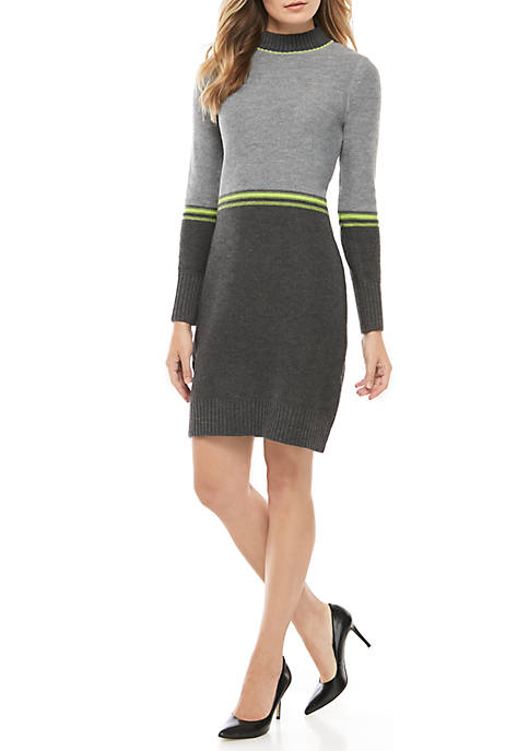 Jessica Howard Large Stitch Mock Neck Stripe Dress