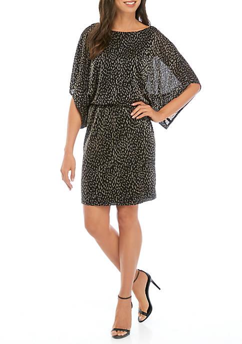 Womens Metallic Leopard Short Dress