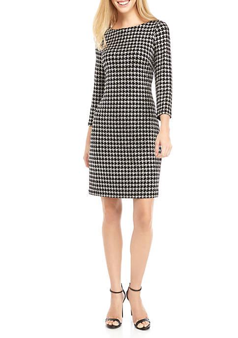 Womens Sparkle Houndstooth Shift Dress