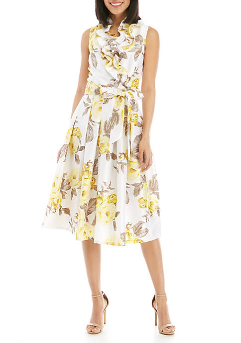 Jessica Howard Sleeveless Shantung Fit and Flare Floral