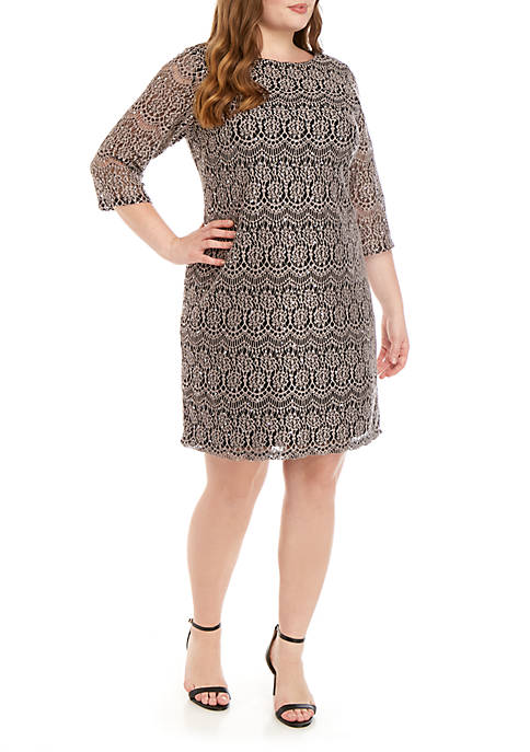 Jessica Howard Plus Size 3/4 Sleeve Sequin Lace