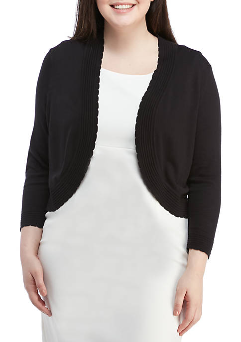 Laura Jeffries Plus Size Scallop Detail Topper