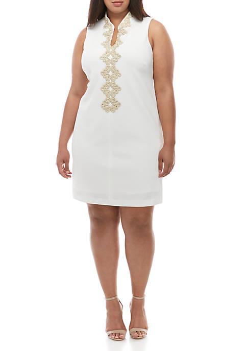 Jessica Howard Plus Size Sleeveless Embroidered Neck Dress