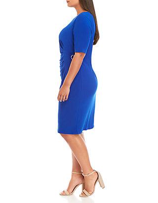 Plus Size Short Sleeve Side Buckle Dress